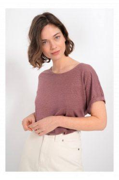 Kuyichi-T-shirt-Bella-linnen-bordeaux-