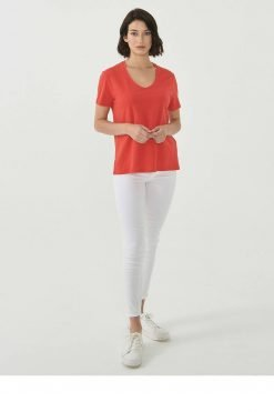 Organication-shirt-dames-rood-biokatoen